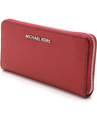 Michael by Michael Kors Jet Set Travel Za Continental Wallet Scarlet - Lyst