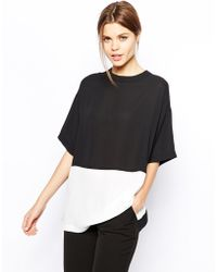 Asos Sheer and Solid Longline Tshirt - Lyst