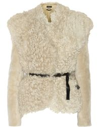 Isabel Marant Drew Belted Shearling Jacket - Lyst