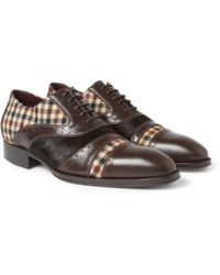 Etro Leather Calf Hair and Check Oxford Shoes - Lyst