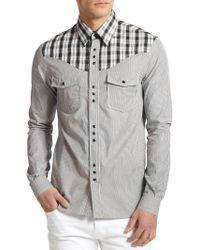 Diesel Black Gold Plaid  Stripe Western Shirt - Lyst