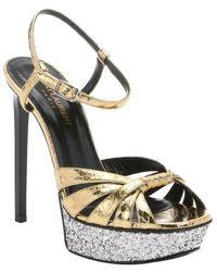 Saint Laurent Gold Elaphe Snakeskin Platform Stiletto Sandals - Lyst