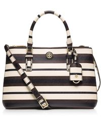 Tory Burch Robinson Stripe Mini Double-Zip Tote - Lyst