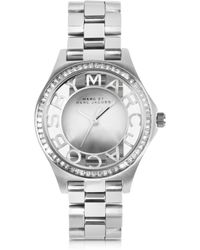 Marc By Marc Jacobs Henry Skeleton Glitz 34Mm Silver Tone Stainless Steel Women'S Watch - Lyst