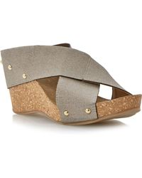 Linea Gingerbread Fabric Wedge Sandals - Lyst