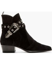 Saint Laurent Black Suede Duckie Boots - Lyst