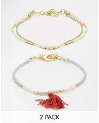 Pieces - Teressa Multipack Friendship Bracelets - Lyst