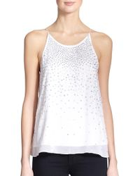 Milly Embellished Silk Tank Top - Lyst