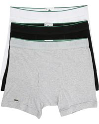 Lacoste 3-Pack Of Black Striped Els Cotton Boxer Shorts - Lyst
