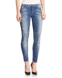 True Religion Halle Distressed Skinny Moto Jeans blue - Lyst