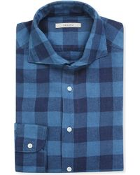 Boglioli Checked Regularfit Singlecuff Shirt Indigo - Lyst
