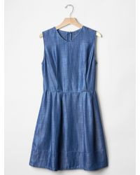 Gap Tencel® Denim Fit & Flare Dress blue - Lyst