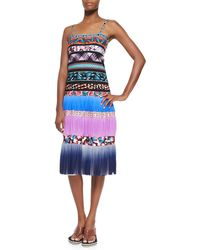 Jean Paul Gaultier Ombre Striped Mixed-Print Tiered Slip Dress - Lyst