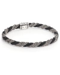 John Hardy | Classic Chain Twisted Sterling Silver & Leather Bracelet | Lyst