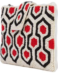 AKIRA - Patterned Black Ivory Coral Seed Bead Wallet Purse - Lyst