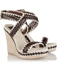 Tory Burch Paloma Leather And Linen Wedge Sandals - Lyst