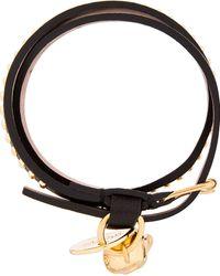 Alexander McQueen Black Leather Double_wrap Gold Studded Bracelet - Lyst