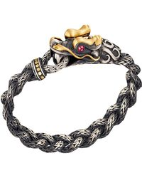 John Hardy Batu Naga Gold  Silver Dragon Head Bracelet with Black Oxidation - Lyst