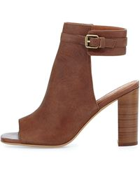 Jeffrey Campbell Canal Leather Peeptoe Bootie Tan 6b - Lyst