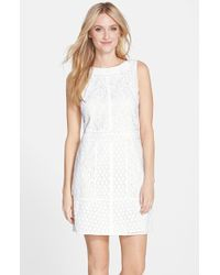 Adrianna Papell Mixed Lace Shift Dress - Lyst