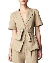 Donna Karan New York Short-sleeve Tie-front Jacket - Lyst