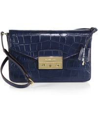 MICHAEL Michael Kors Haley Medium Crocodile-Embossed Shoulder Bag - Lyst