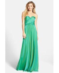 La Femme Embellished Chiffon A-Line Gown - Lyst