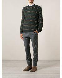 Giorgio Armani Gray Patterned Sweater - Lyst