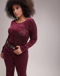 Addition Elle - Long Sleeve Smocked Cuff Velvet Top - L&l - Lyst