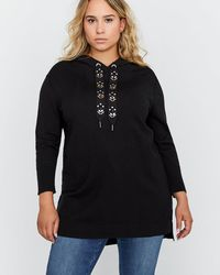 Addition Elle - Sweater Hoodie With Decorative Drawstring - L&l - Lyst