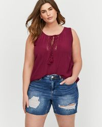 Addition Elle - L&l Sleeveless Tank Top With Crochet Details At Neckline - Lyst