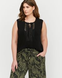 Addition Elle - Michel Studio Sleeveless Blouse With Front Lace Details - Lyst