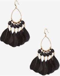 Addition Elle - Black Feather Earrings - Lyst