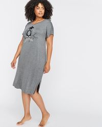 Addition Elle - Long V-neck Sleepshirt With Short Sleeves - Déesse Collection - Lyst