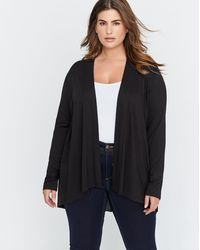 Addition Elle - Premium Essential Mixed Fabric Open Cardigan With Pleated Back - Michel Studio - Lyst