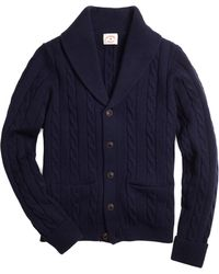 Brooks Brothers Variegated Cable Shawl Collar Cardigan - Lyst