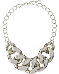 Kenneth Jay Lane Rhodium-Plated Large Link Necklace - Lyst