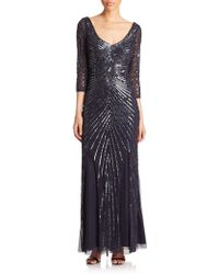 Aidan Mattox Long-Sleeve Beaded Godet Gown - Lyst