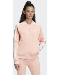 0bb69677c774 Lyst - adidas Originals Sst 3-stripes Jersey Jacket in Pink