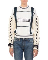 dc900d51d474 Lyst - Carven Plaid Crewneck Sweater in Red