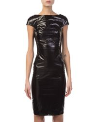 Gareth Pugh - Glossy Leather And Jersey Mini Dress - Lyst