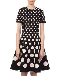 Carolina Herrera - Lotus Pink Knit Black Dress - Lyst