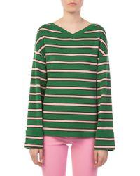 a1f7e6f5c063 Lyst - Alexachung Green Oversized Striped Sweater in Green