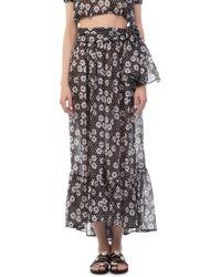 Lisa Marie Fernandez - Nicole Sheer Black Daisy And Dots Maxi Skirt - Lyst
