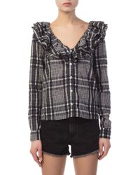 Ganni - Charron Checkered Blouse - Lyst