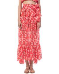 Lisa Marie Fernandez - Nicole Sheer Tomato Dasies And Dots Maxi Skirt - Lyst
