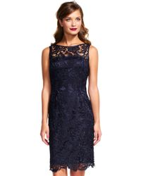 Adrianna Papell | Illusion Neck Lace Sheath Dress | Lyst