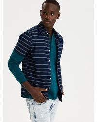 038c0115 Lyst - American Eagle Ae Madras Button Down Shirt in Blue for Men