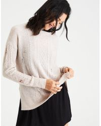American Eagle - Ae Destroyed Cable Knit Sweater - Lyst