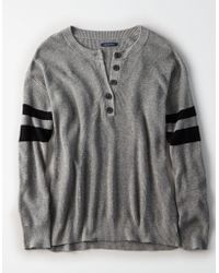 American Eagle - Ae Varsity Stripe Henley Pullover Sweater - Lyst